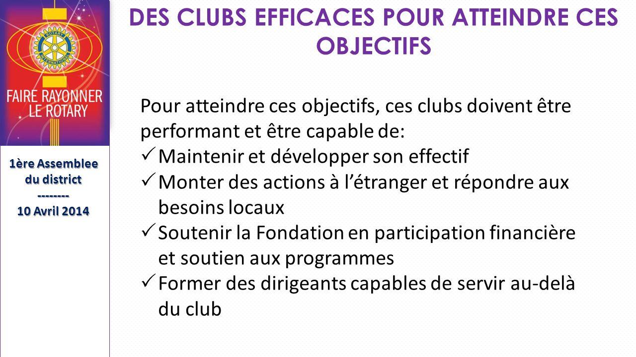DES CLUBS EFFICACES POUR ATTEINDRE CES OBJECTIFS