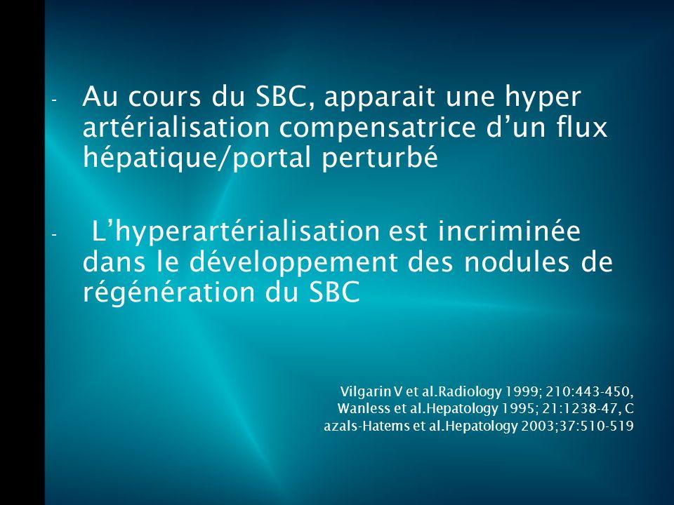 Au cours du SBC, apparait une hyper artérialisation compensatrice d'un flux hépatique/portal perturbé