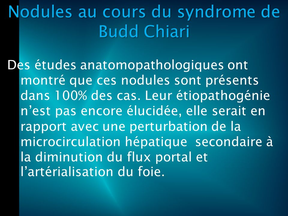 Nodules au cours du syndrome de Budd Chiari