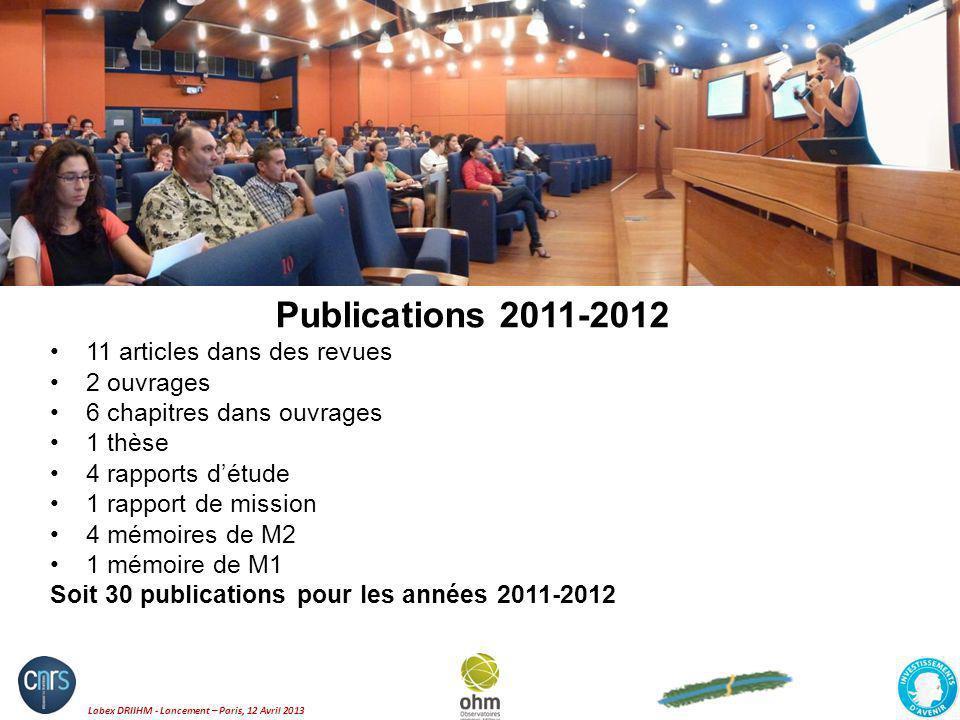Publications 2011-2012 11 articles dans des revues 2 ouvrages