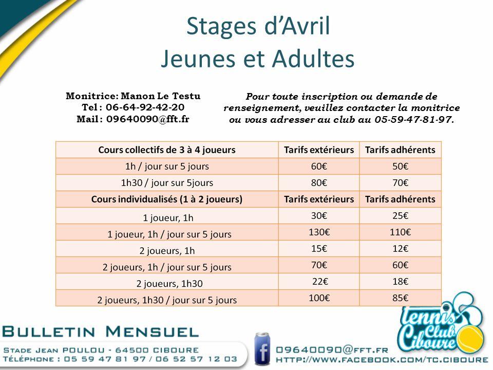 Stages d'Avril Jeunes et Adultes