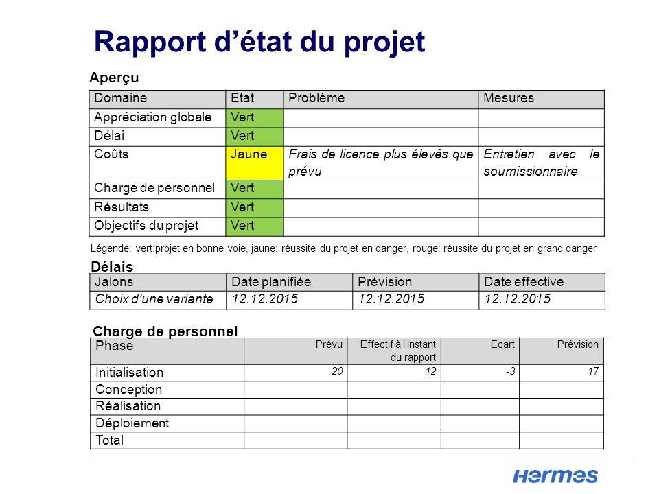 Rapport d'état du projet