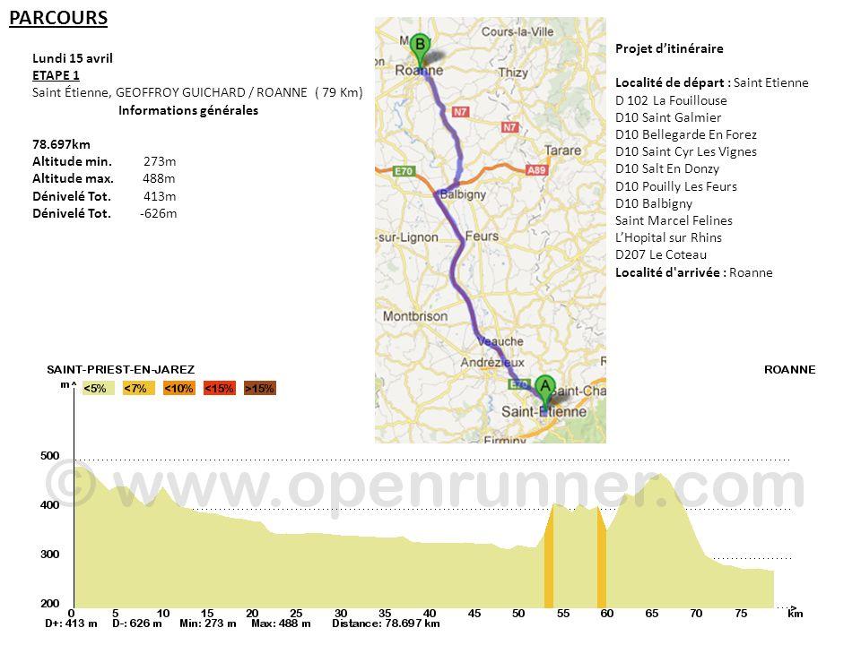 PARCOURS Projet d'itinéraire Lundi 15 avril ETAPE 1