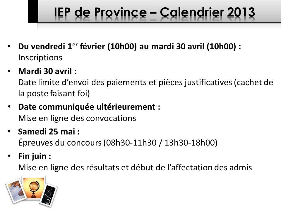 IEP de Province – Calendrier 2013