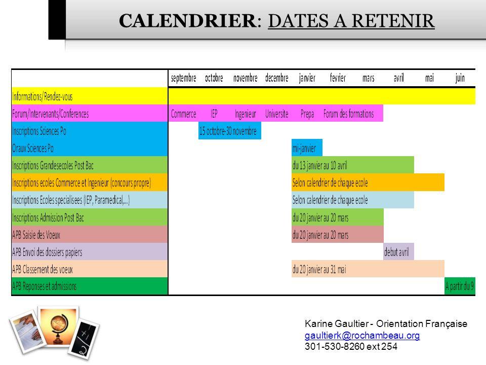 CALENDRIER: DATES A RETENIR
