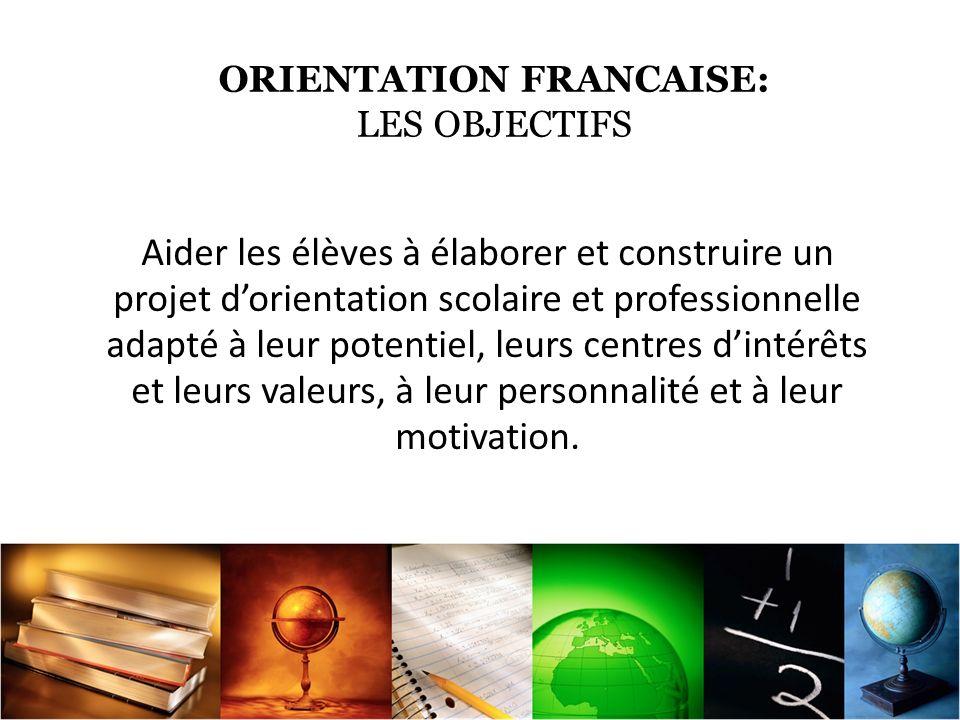 ORIENTATION FRANCAISE: LES OBJECTIFS