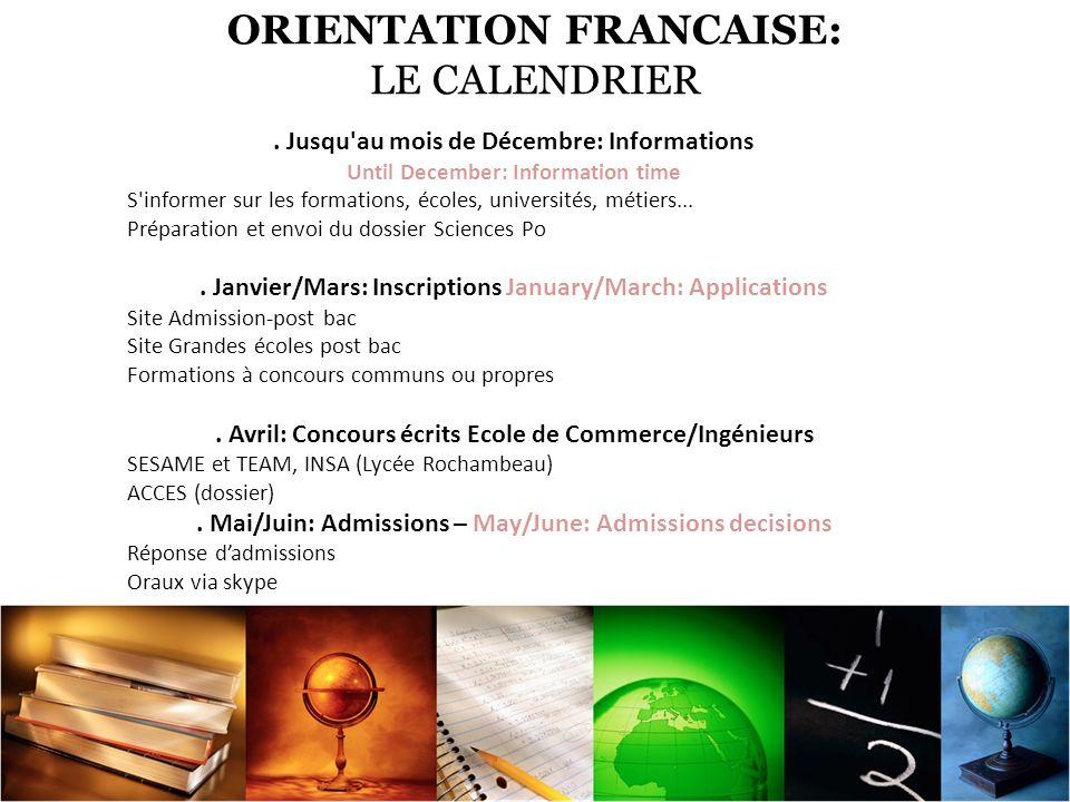 ORIENTATION FRANCAISE: LE CALENDRIER