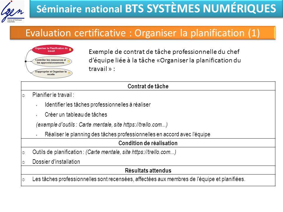 Séminaire national BTS SYSTÈMES NUMÉRIQUES Condition de réalisation