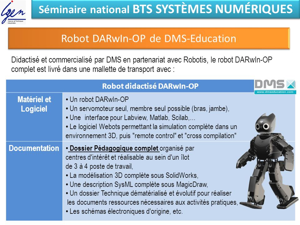 Séminaire national BTS SYSTÈMES NUMÉRIQUES Robot didactisé DARwIn-OP