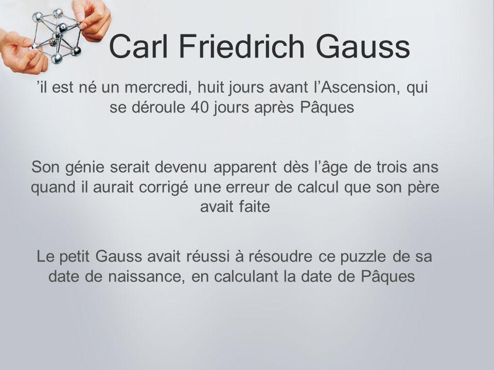 Carl Friedrich Gauss 'il est né un mercredi, huit jours avant l'Ascension, qui se déroule 40 jours après Pâques.