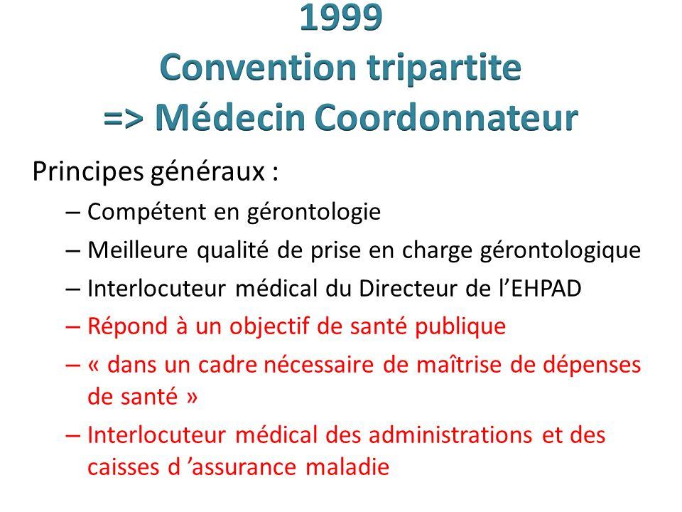 1999 Convention tripartite => Médecin Coordonnateur