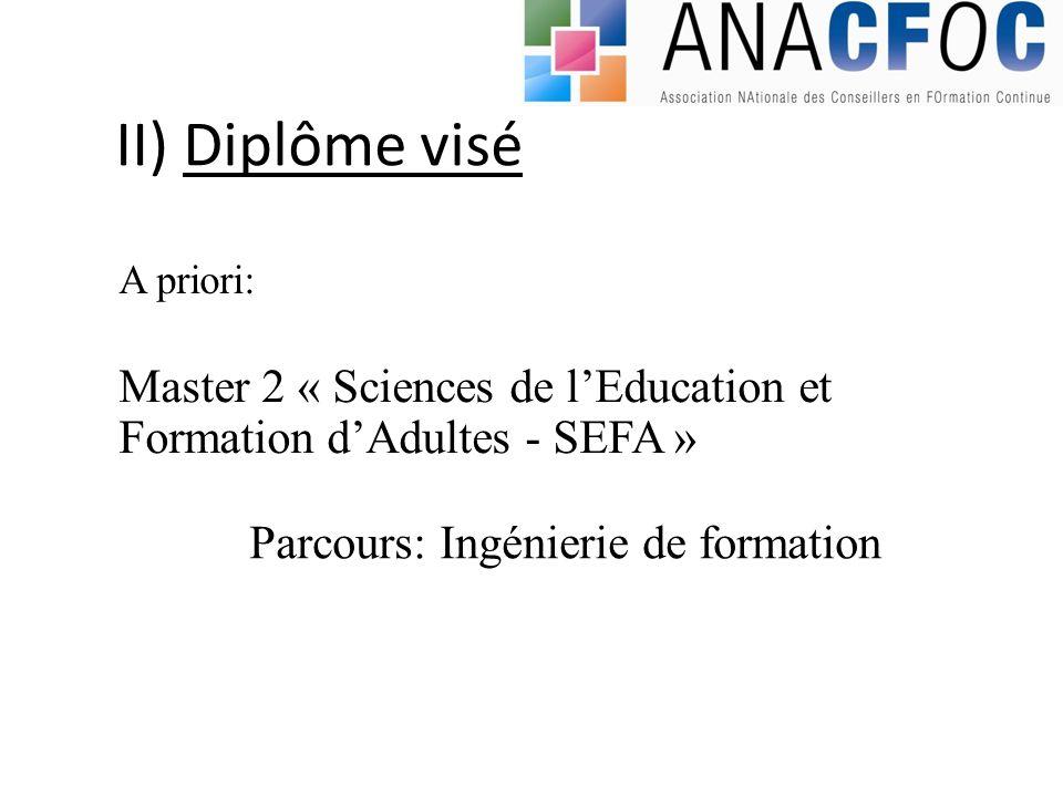 II) Diplôme visé A priori: Master 2 « Sciences de l'Education et Formation d'Adultes - SEFA » Parcours: Ingénierie de formation.