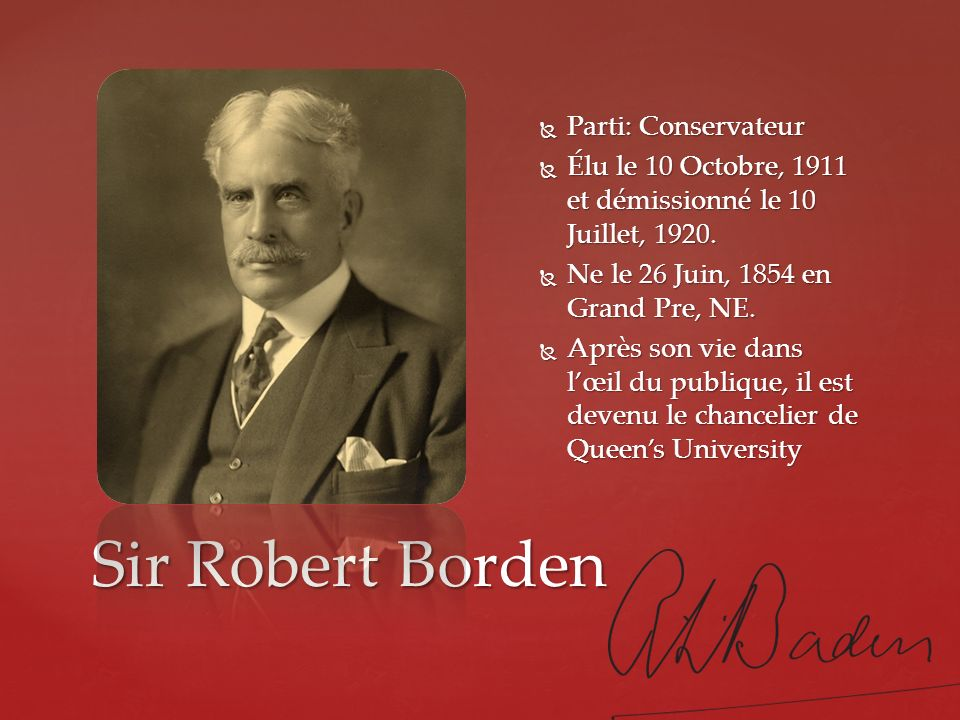 Sir Robert Borden Parti: Conservateur