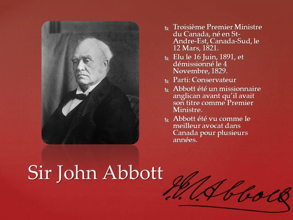Troisième Premier Ministre du Canada, né en St-Andre-Est, Canada-Sud, le 12 Mars, 1821.