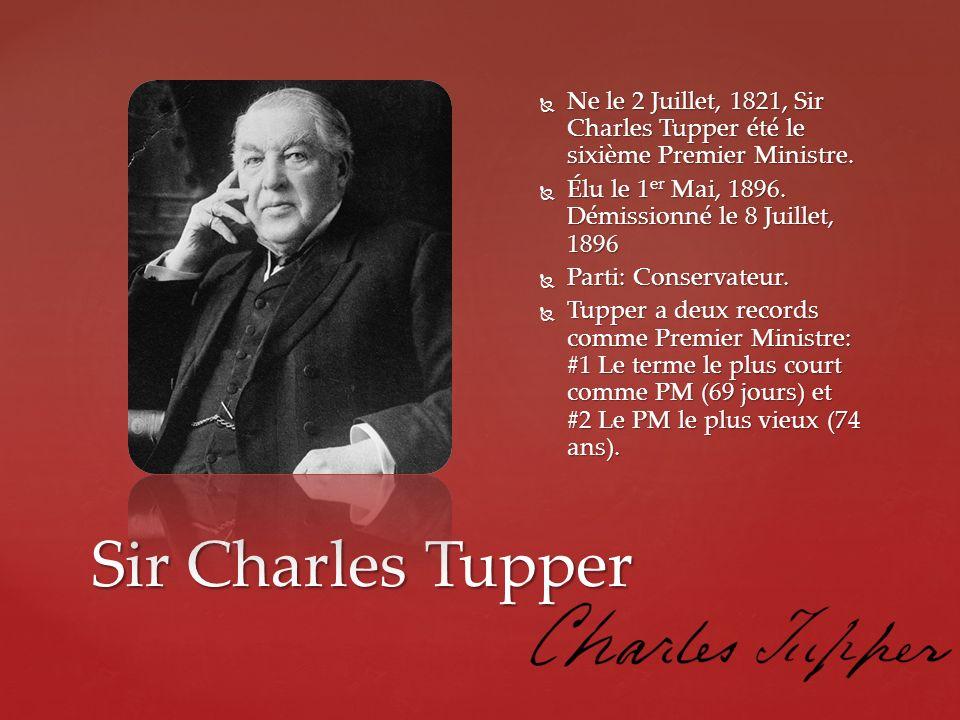 Ne le 2 Juillet, 1821, Sir Charles Tupper été le sixième Premier Ministre.