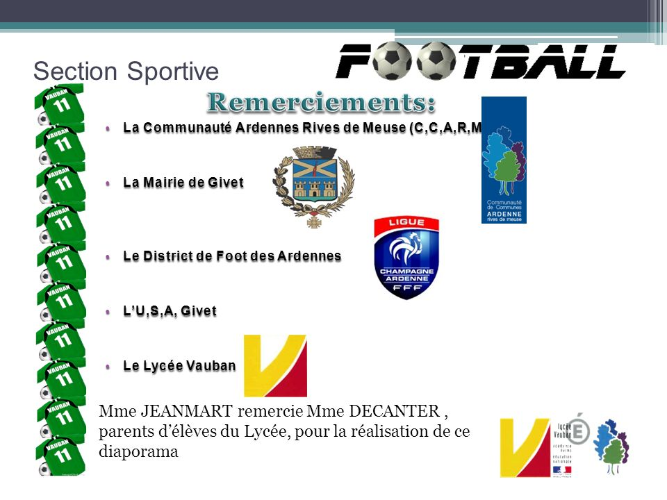 Section Sportive Remerciements: