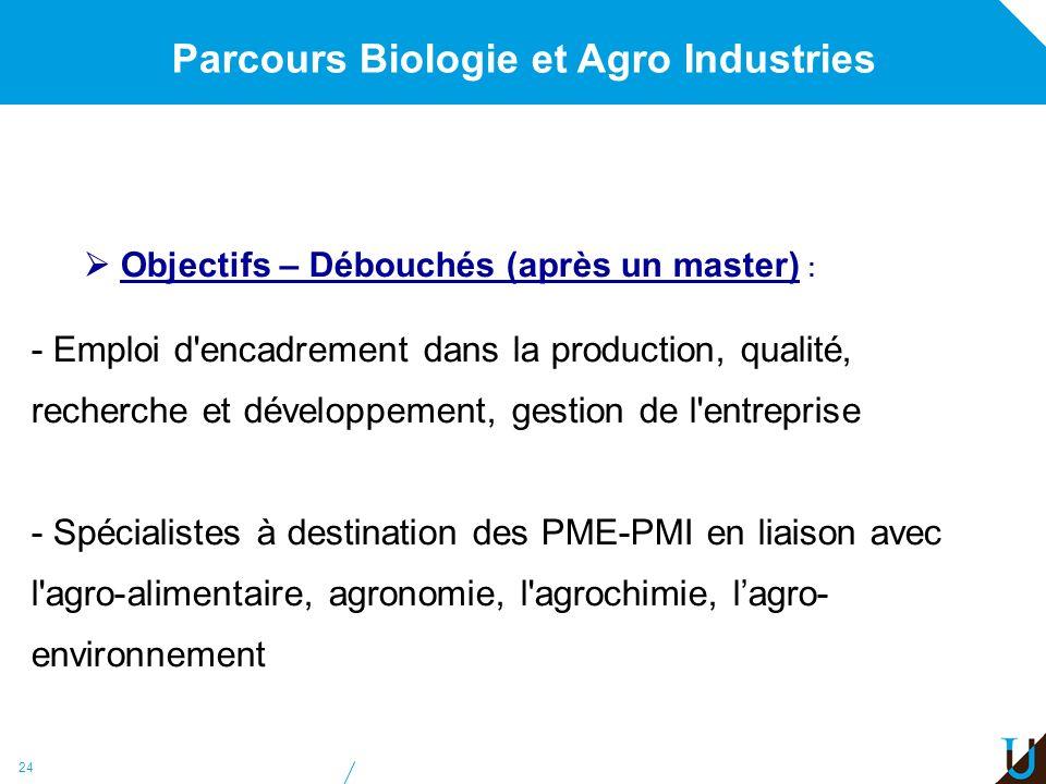 Parcours Biologie et Agro Industries