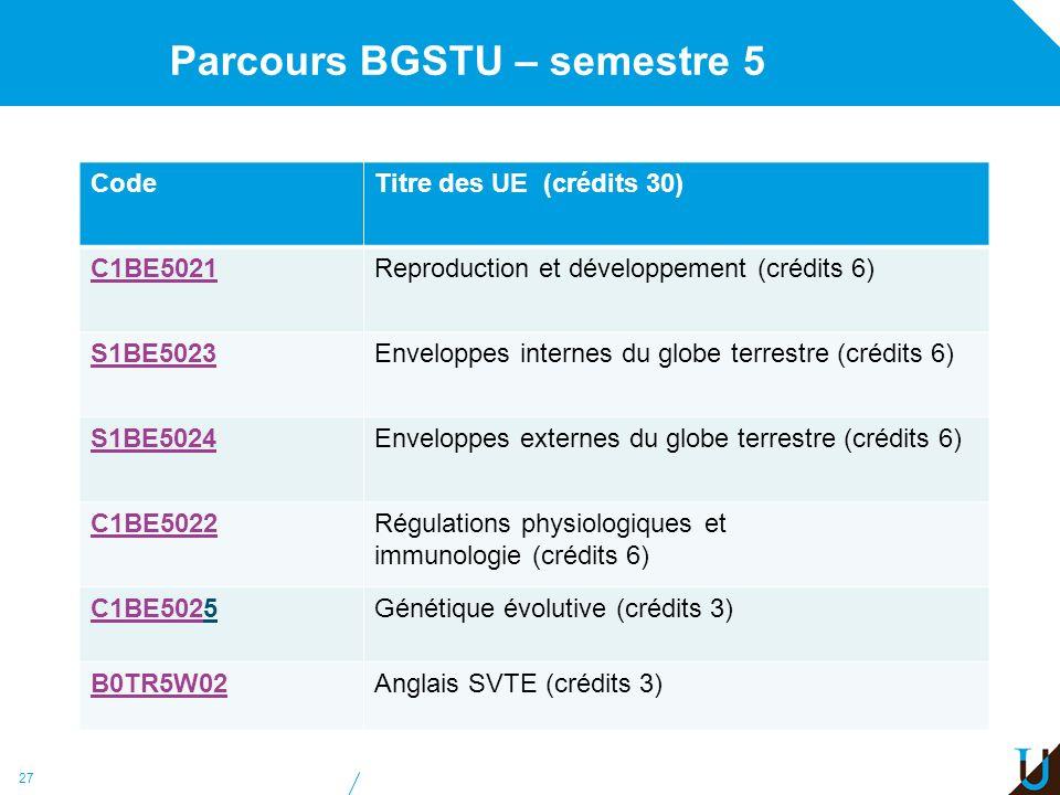 Parcours BGSTU – semestre 5