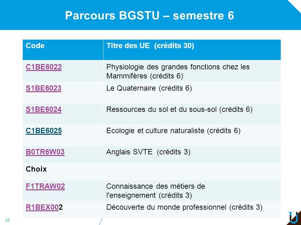 Parcours BGSTU – semestre 6