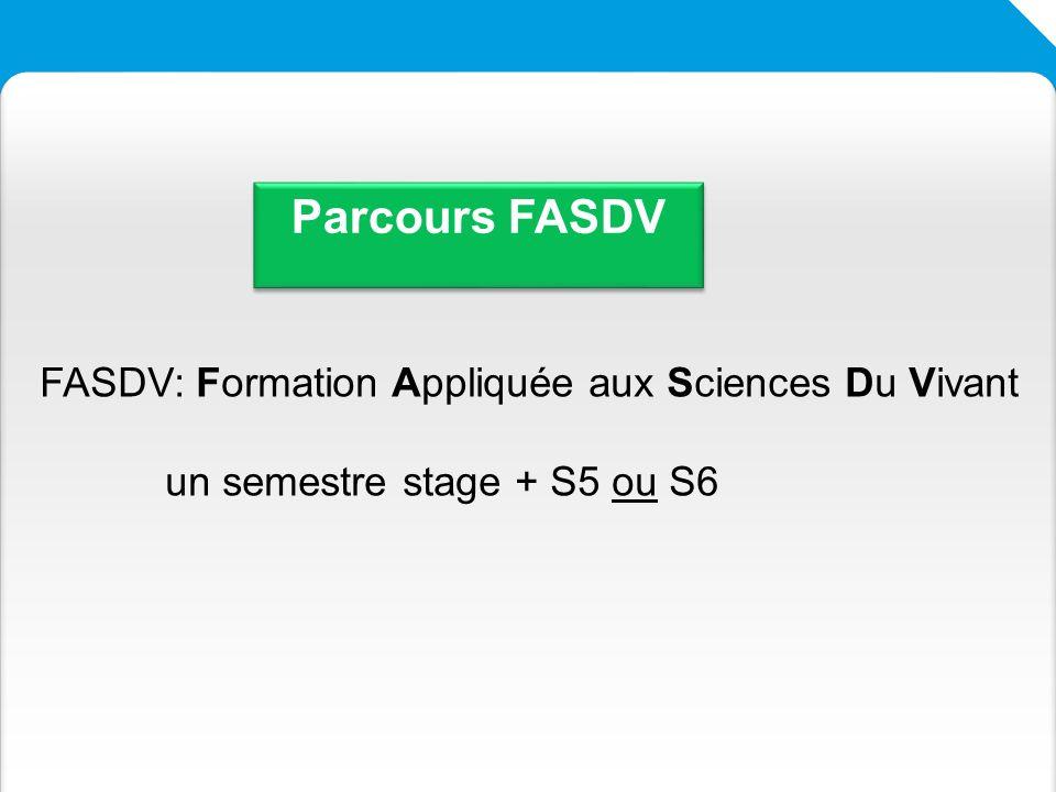 Parcours FASDV FASDV: Formation Appliquée aux Sciences Du Vivant
