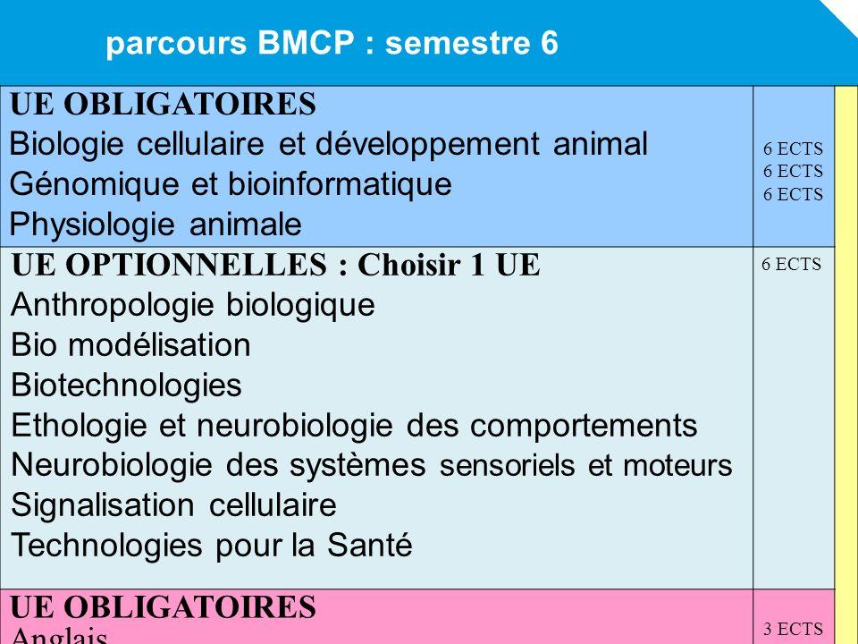 parcours BMCP : semestre 6 UE OBLIGATOIRES