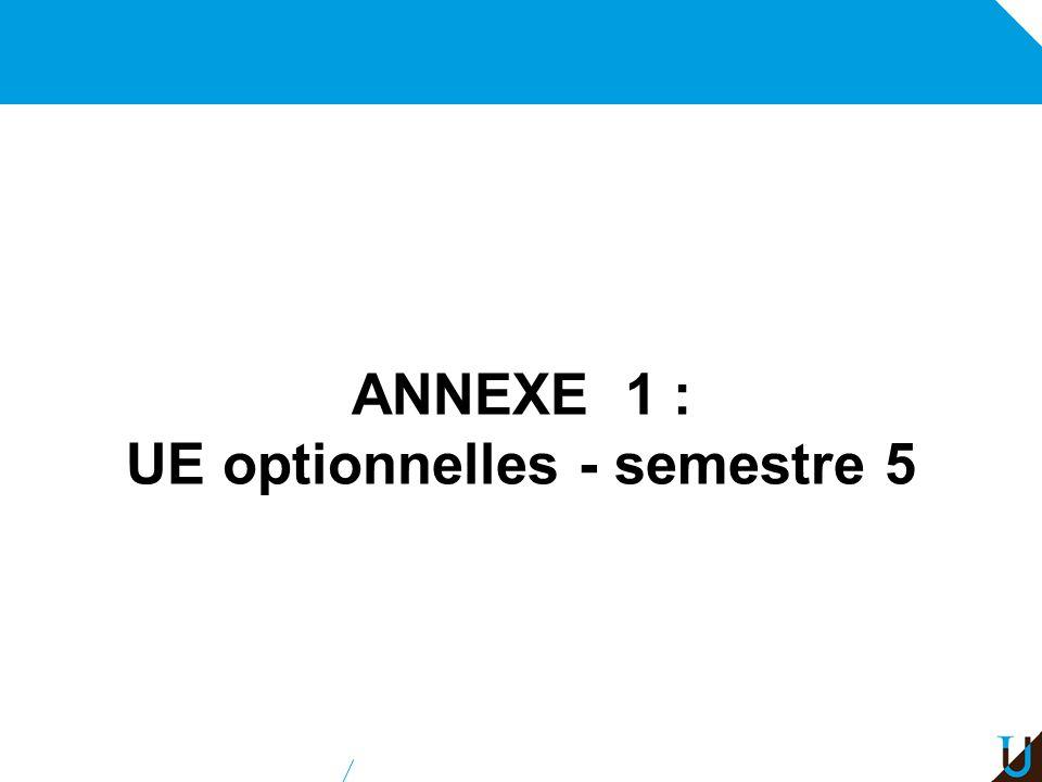 ANNEXE 1 : UE optionnelles - semestre 5