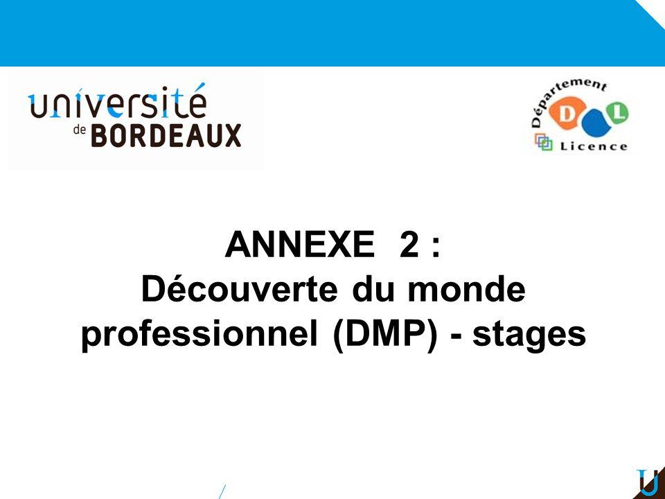 ANNEXE 2 : Découverte du monde professionnel (DMP) - stages