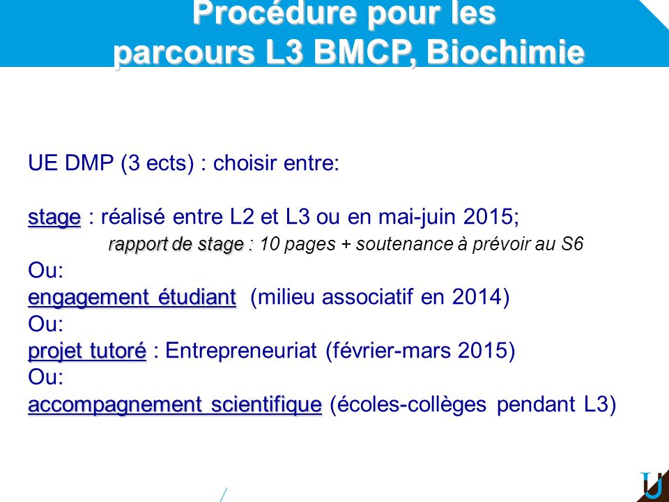 parcours L3 BMCP, Biochimie