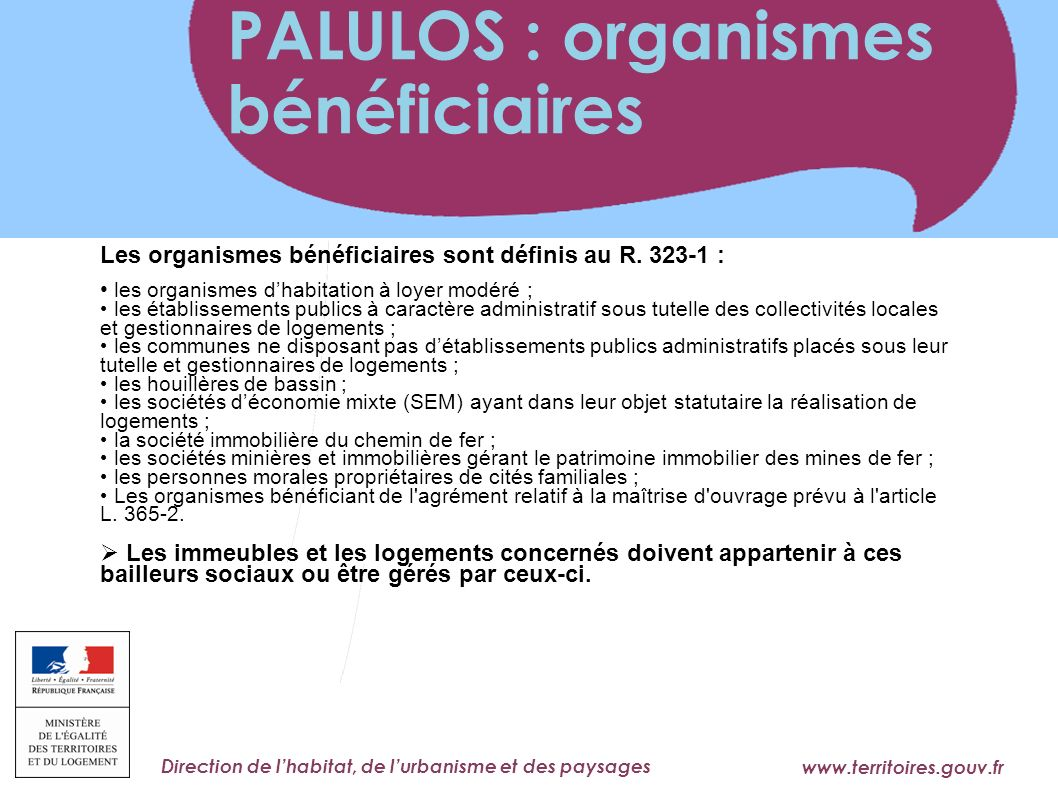 PALULOS : organismes bénéficiaires