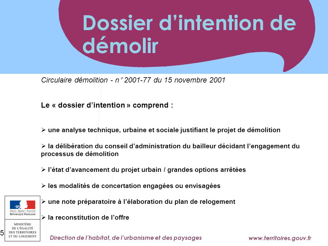 Dossier d'intention de démolir