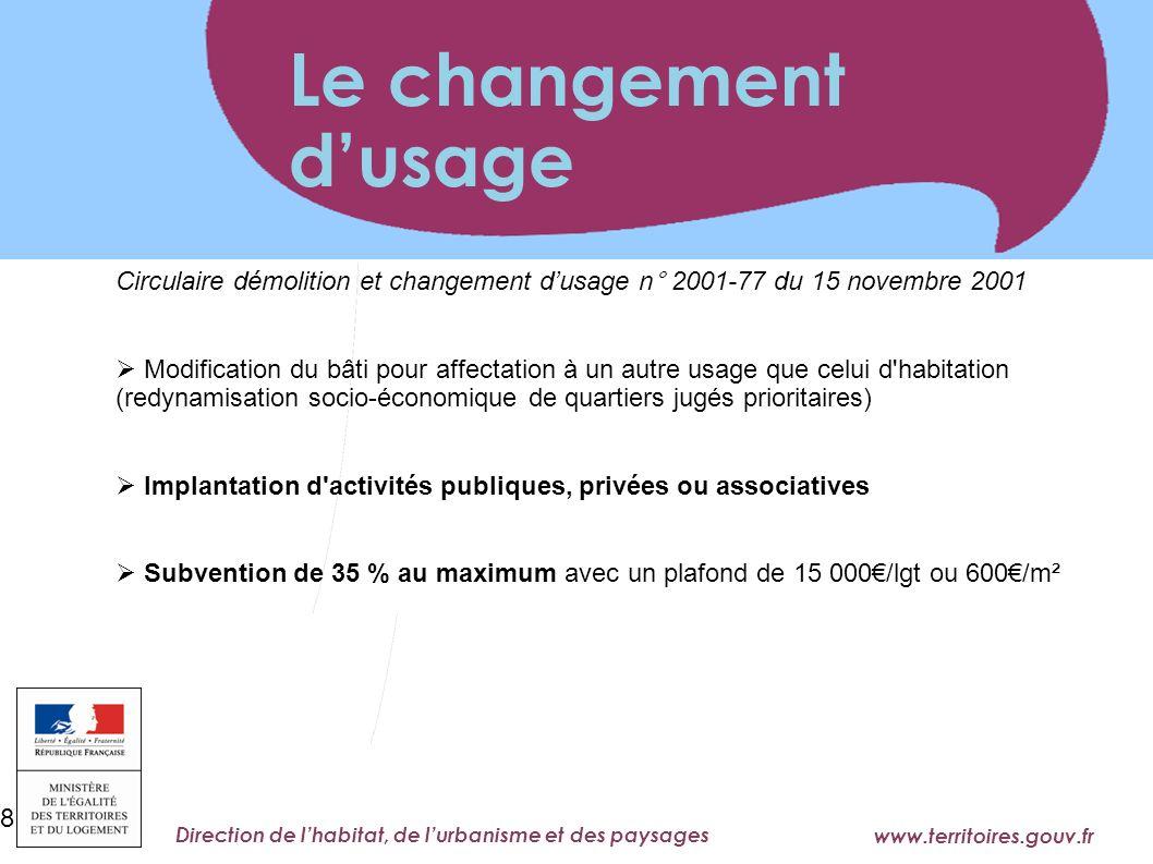 Le changement d'usage Circulaire démolition et changement d'usage n° 2001-77 du 15 novembre 2001.