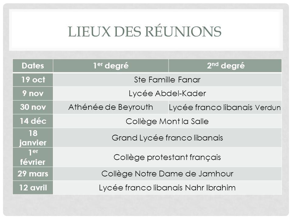 Lieux des réunions Dates 1er degré 2nd degré 19 oct Ste Famille Fanar