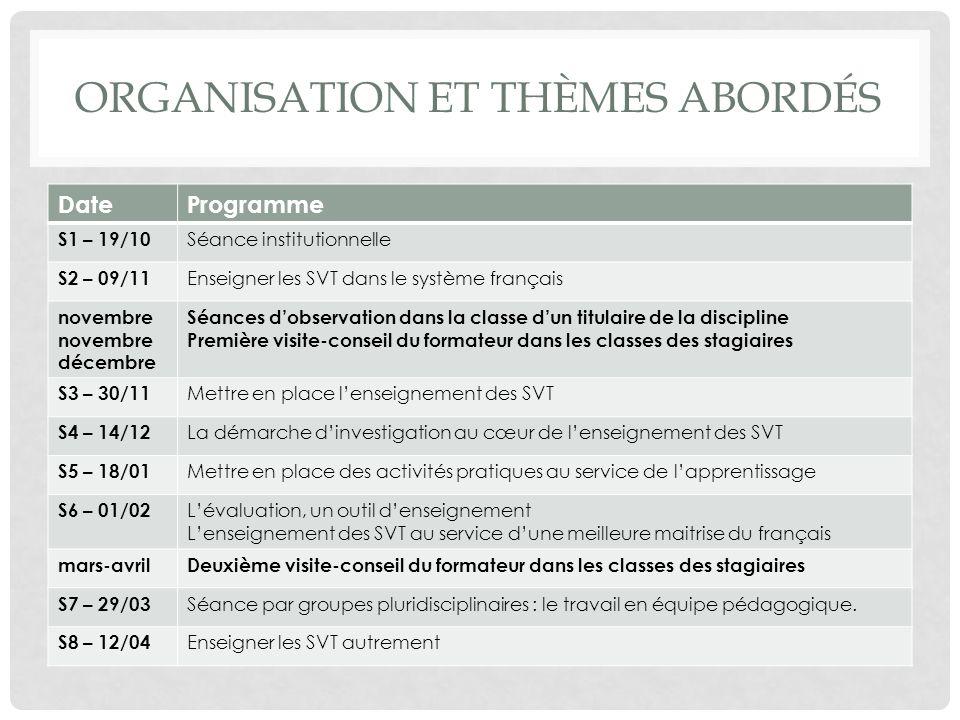 Organisation et thèmes abordés