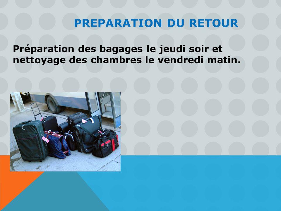 PREPARATION DU RETOUR Préparation des bagages le jeudi soir et nettoyage des chambres le vendredi matin.