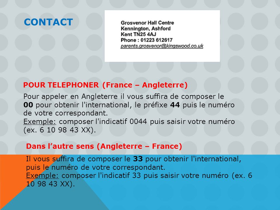 CONTACT POUR TELEPHONER (France – Angleterre)