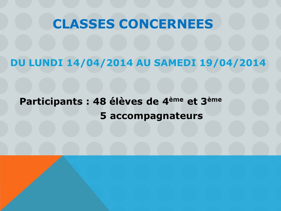 CLASSES CONCERNEES Du Lundi 14/04/2014 au SAMEDI 19/04/2014