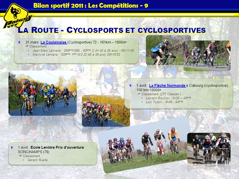 Bilan sportif 2011 : Les Compétitions - 9