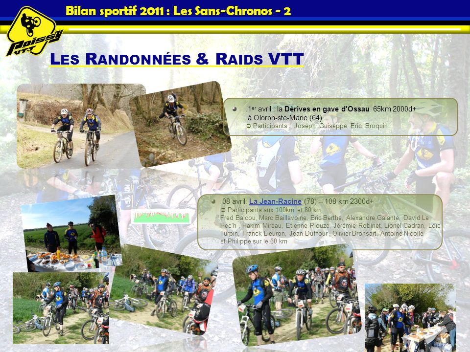 Bilan sportif 2011 : Les Sans-Chronos - 2