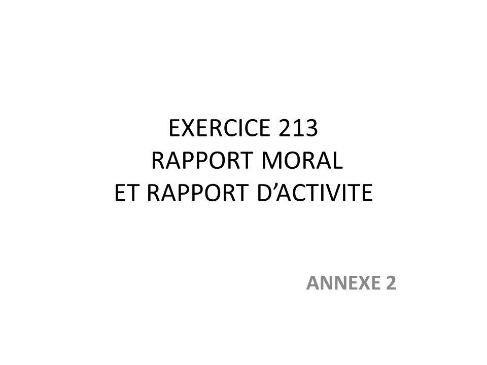 EXERCICE 213 RAPPORT MORAL ET RAPPORT D'ACTIVITE
