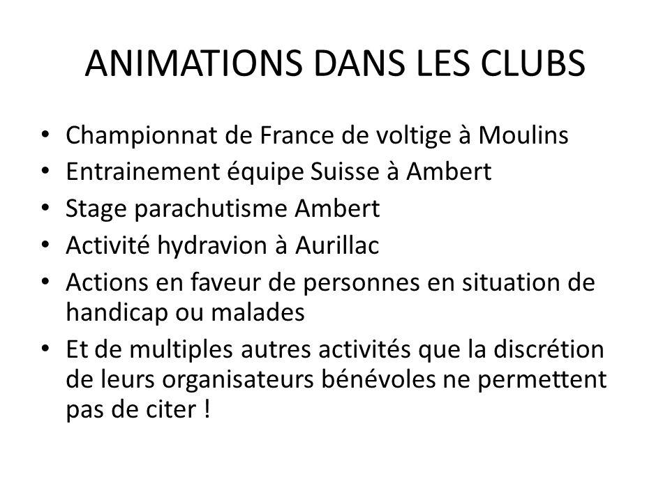 ANIMATIONS DANS LES CLUBS