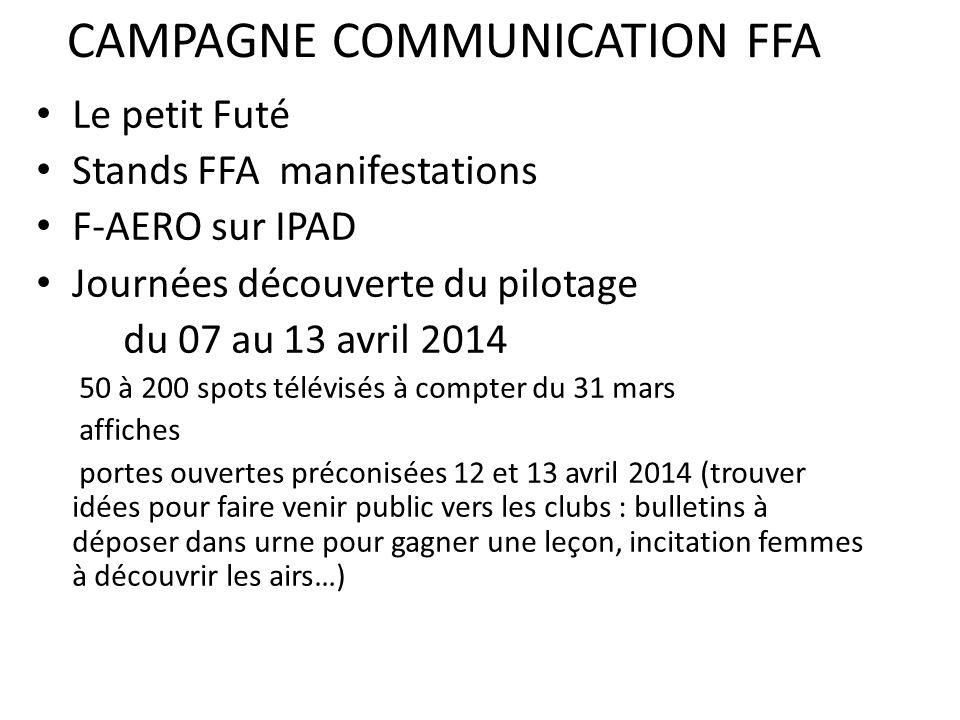 CAMPAGNE COMMUNICATION FFA