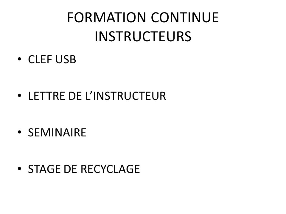 FORMATION CONTINUE INSTRUCTEURS