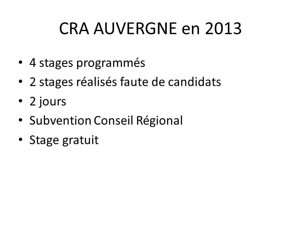CRA AUVERGNE en 2013 4 stages programmés