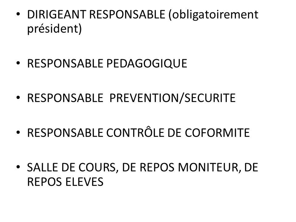 DIRIGEANT RESPONSABLE (obligatoirement président)