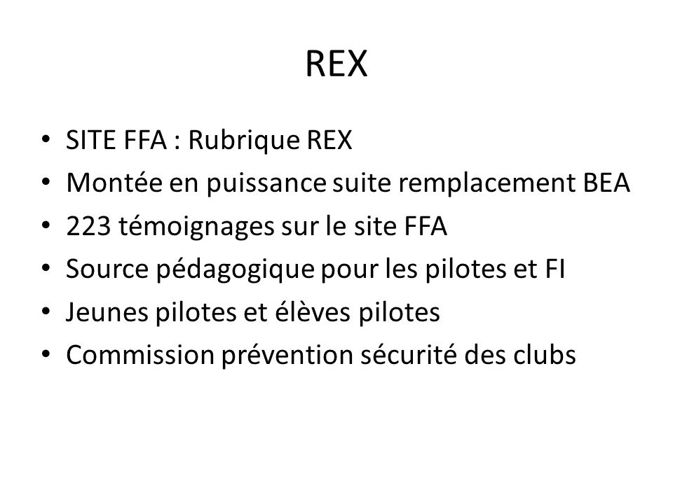 REX SITE FFA : Rubrique REX Montée en puissance suite remplacement BEA