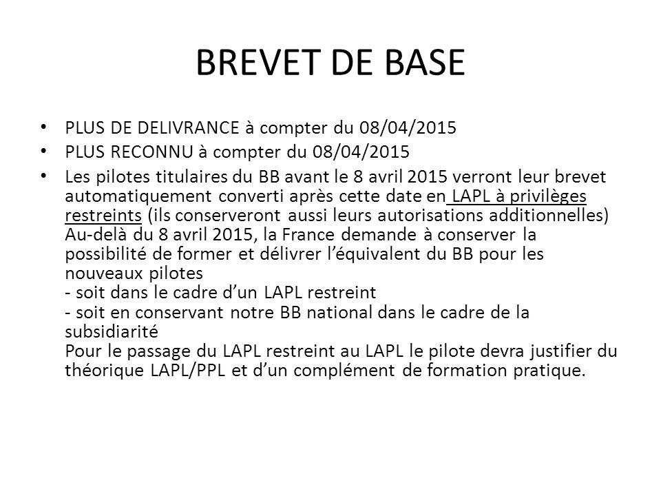 BREVET DE BASE PLUS DE DELIVRANCE à compter du 08/04/2015