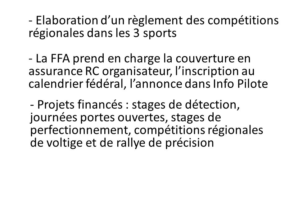 Elaboration d'un règlement des compétitions régionales dans les 3 sports