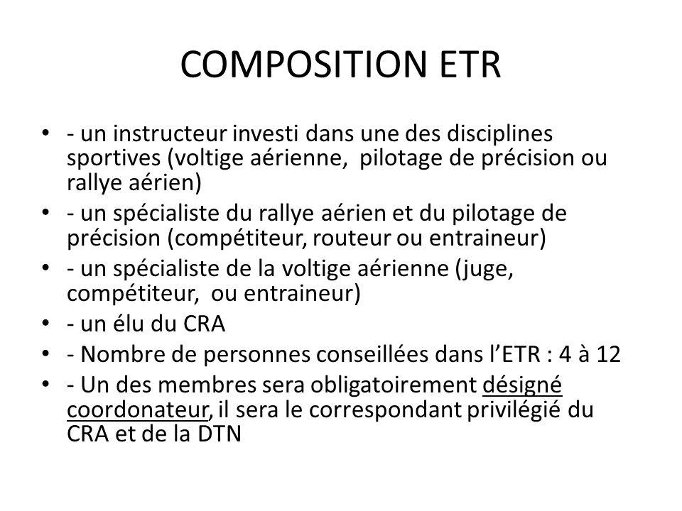 COMPOSITION ETR - un instructeur investi dans une des disciplines sportives (voltige aérienne, pilotage de précision ou rallye aérien)