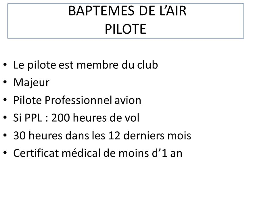 BAPTEMES DE L'AIR PILOTE