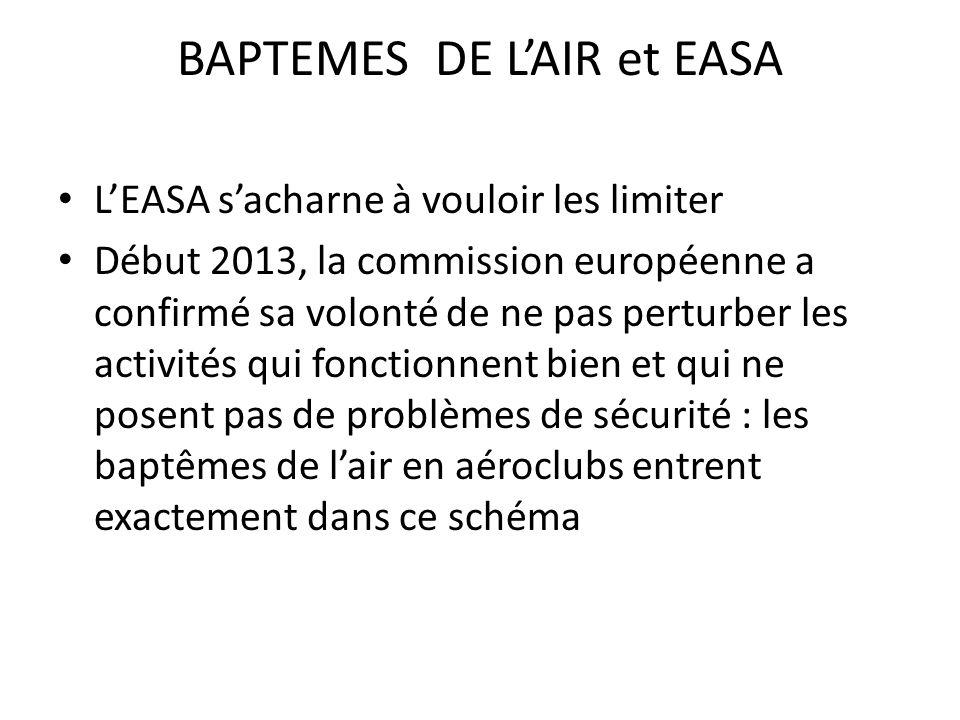 BAPTEMES DE L'AIR et EASA